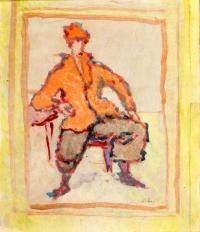 Mężczyzna w pomarańczowej kurtce