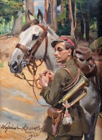 Ułan z koniem, 1924 r.