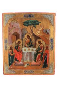 Ikona Trójca Święta Starotestamentowa , Rosja, II poł. XIX w.