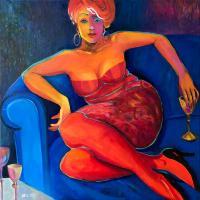 Kobieta w niebieskim fotelu, 2017