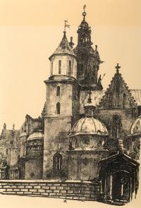 Dziedziniec Zamku Królewskiego na Wawelu, z teki Widoki Krakowa, 1926 r.