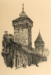 Brama Floriańska i Baszta Pasamoników, z teki Widoki Krakowa, 1926 r.