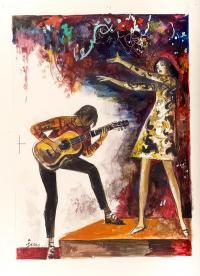 Chłopiec z gitarą, lata 60-te/70-te XX wieku