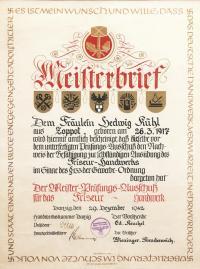 Dyplom Mistrza Fryzjerskiego, 1942 r.