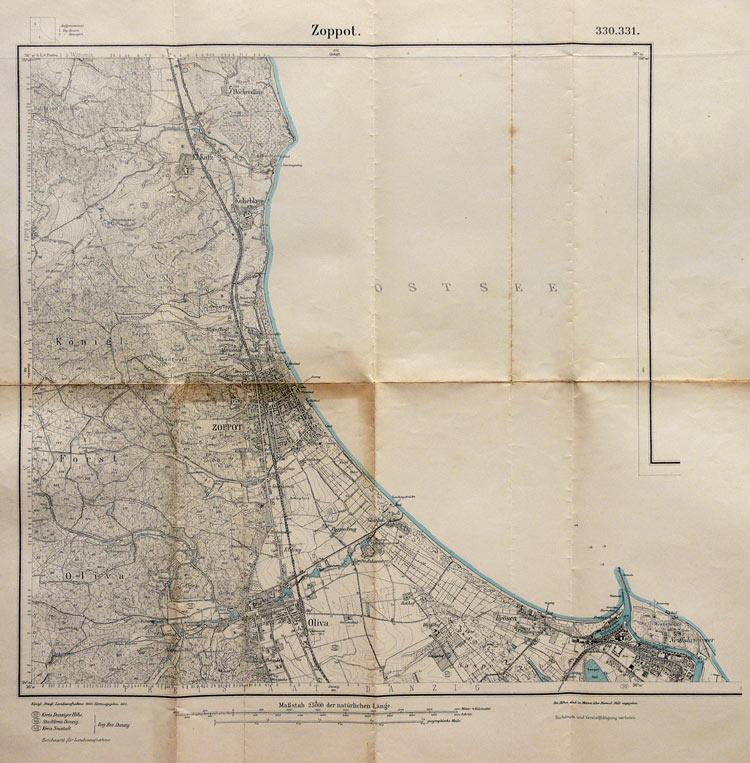 Mapa Sopotu i okolic, wyd. Reichsamt für Landesaufnahme, 1910 r.