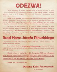 Odezwa przedwyborcza Dyrektora Kolei Państwowych, Gdańsk, 12 listopada 1930 r.