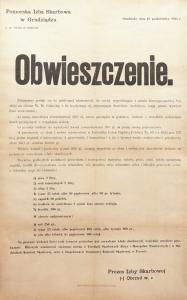 Obwieszczenie Pomorskiej Izby Skarbowej w Grudziądzu, 1925 r.
