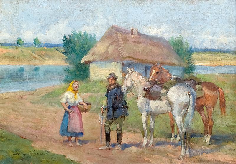Scena rodzajowa z ułanem, 1947 r.