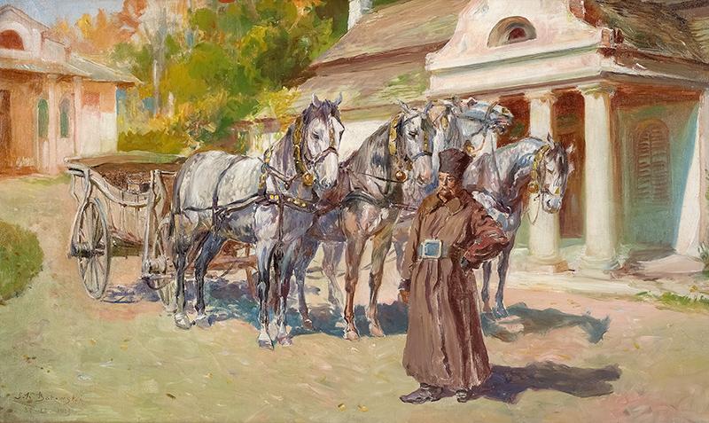 Czwórka przed dworem, 1913 r.