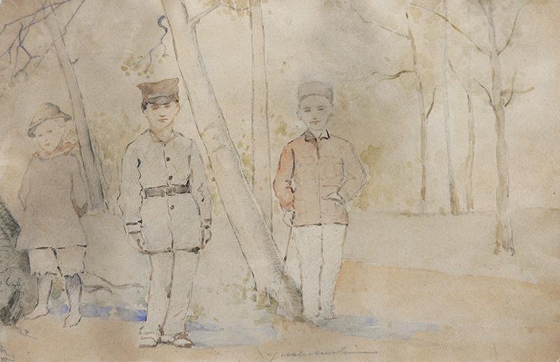 Trzej chłopcy w parku