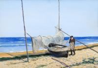 Rybak przy łodzi, 1936 r.