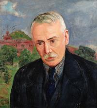 Portret mężczyzny na tle Kopca Kościuszki, ok. 1930 r.