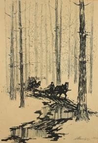 Saniami przez las, 1953 r.