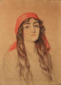 Portret kobiety w chuście, 1908 r.