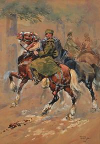Jeźdźcy na koniach, 1945 r.
