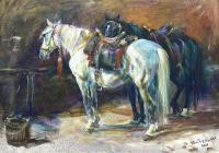 Konie w stajni, 2005 r.