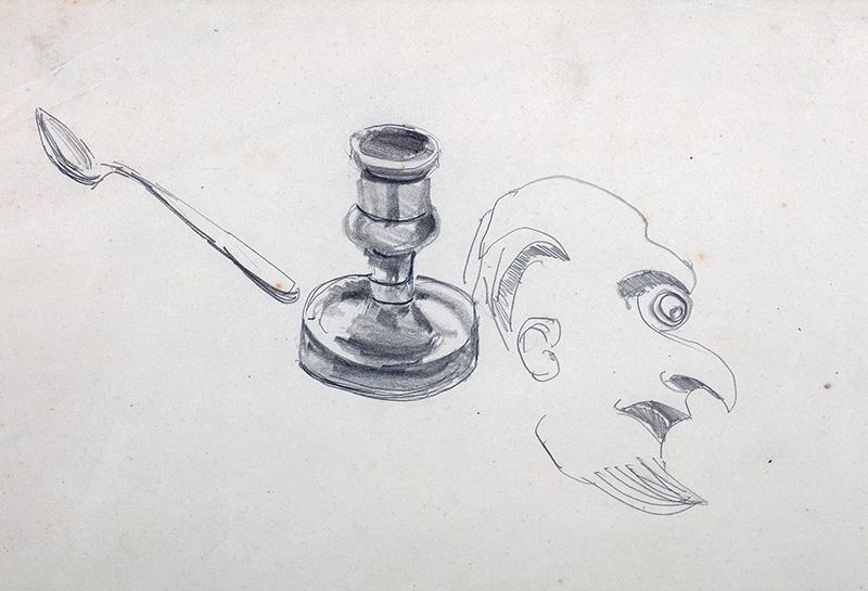 Studia lichtarza, łyżeczki, rysunek satyryczny głowy mężczyzny z profilu