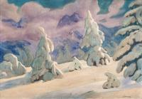 Jodły w śniegu (Pejzaż zimowy), ok. 1910–14