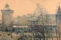 Widok na Kraków z Akademii Sztuk Pięknych, 1906 r.