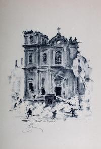 Kościół Św. Krzyża, z teki Ruiny Starej Warszawy z 1945 r.