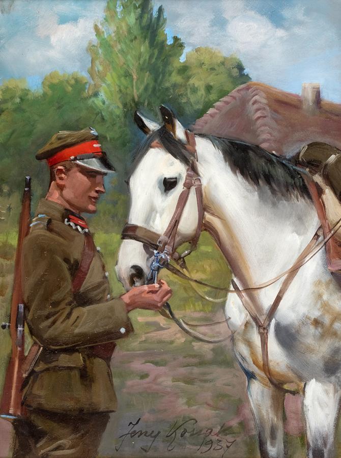 Ułan z koniem, 1937 r.