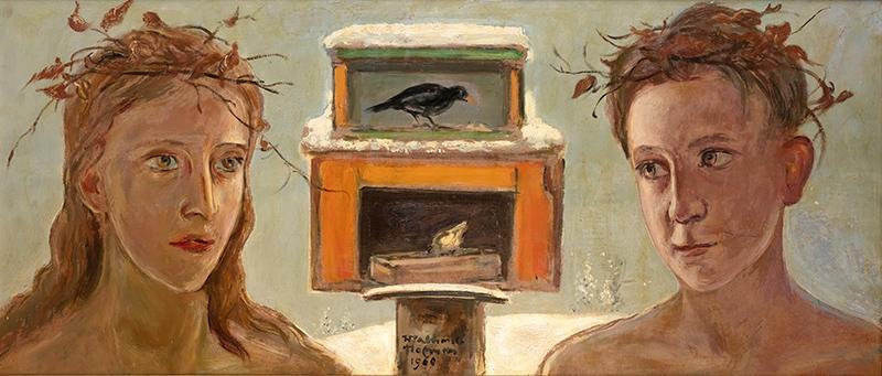 Dzieci przy karmniku dla ptaków, 1960 r.