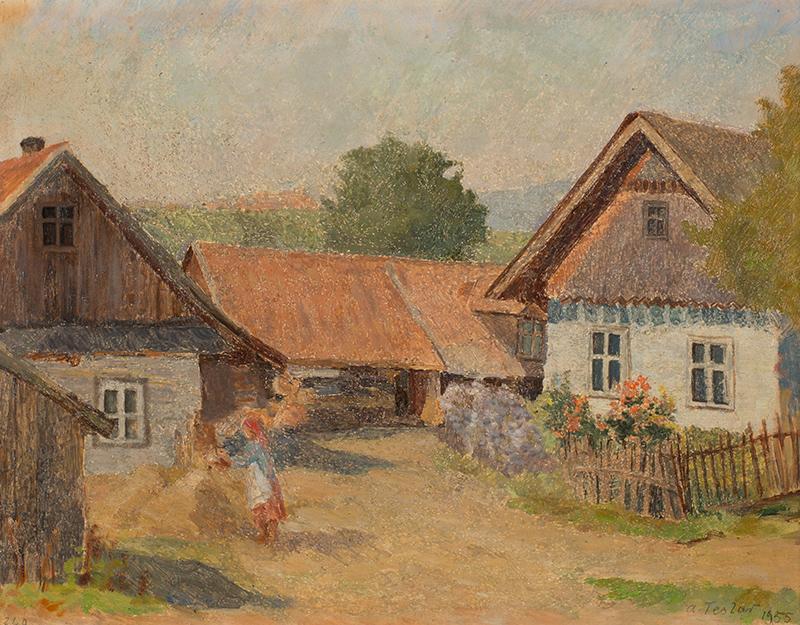 Na wiejskim podwórzu, 1955 r.