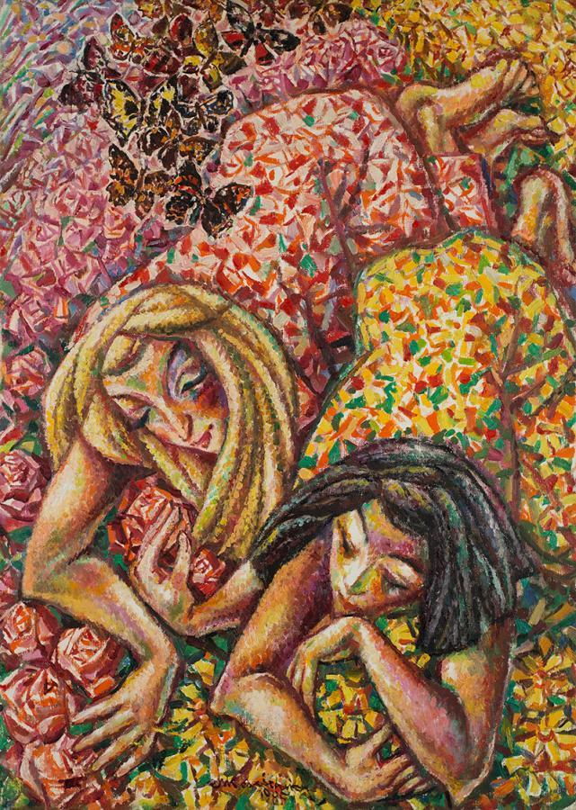 Dwie dziewczyny na łące z motylami, 1985 r.