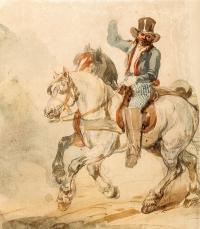Para koni w zaprzęgu z pocztylionem, lata 1832–1835