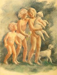 Dzieci z owieczką i psem