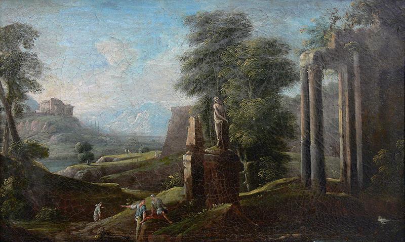 Pejzaż włoski z ruinami i posągiem