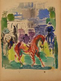 Dżokej na czerwonym koniu