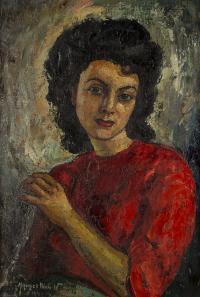 Portret kobiety w czerwonej sukni, 1945 r.