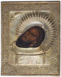 Ikona – Głowa Świętego Jana Chrzciciela na misie, Rosja, 2 poł. XIX w.