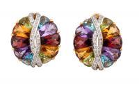 Kolczyki z kolorowymi kamieniami szlachetnymi i brylantami, współczesne