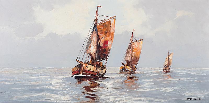 Pejzaż morski z łodziami