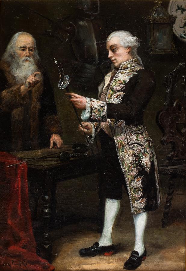 Arystokrata oglądający białą broń