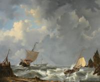 Łodzie żaglowe przy brzegu, 1858 r.