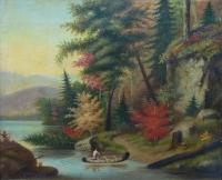 Pejzaż kanadyjski z kanoe