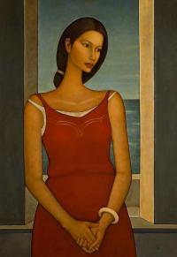 Kobieta na tle okna, 1998 r.