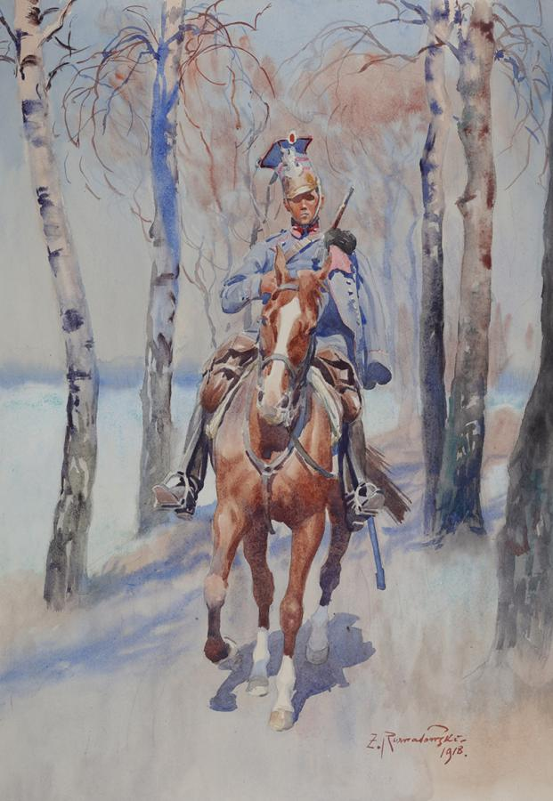 Ułan na koniu, 1918 r.