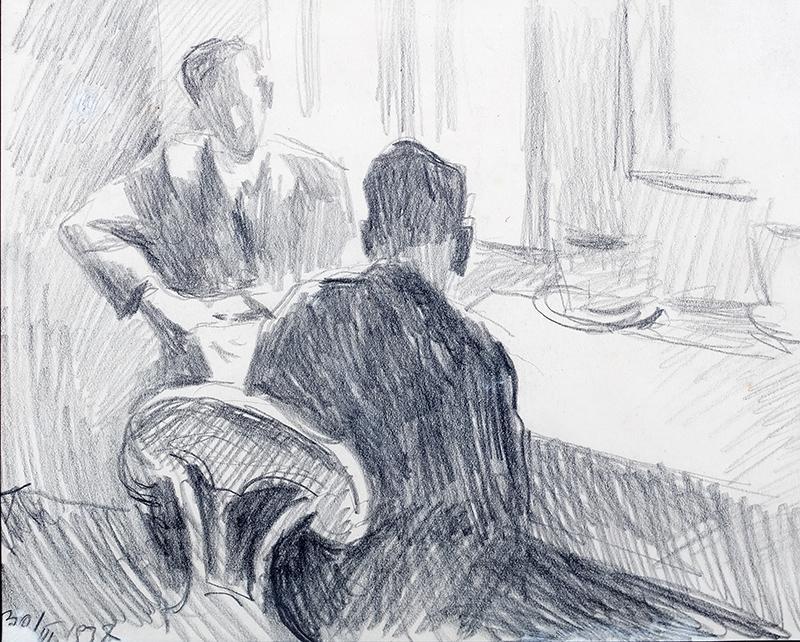 Scena we wnętrzu, rozmowa mężczyzn, 1937 r.