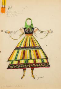Dziewczyna w zielonej chuście, w stroju lubelskim