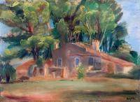 Pejzaż z domem wśród drzew, 1930 r.
