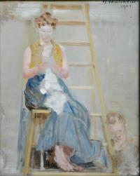 Malarz i modelka (na drabinie), 1904 r.
