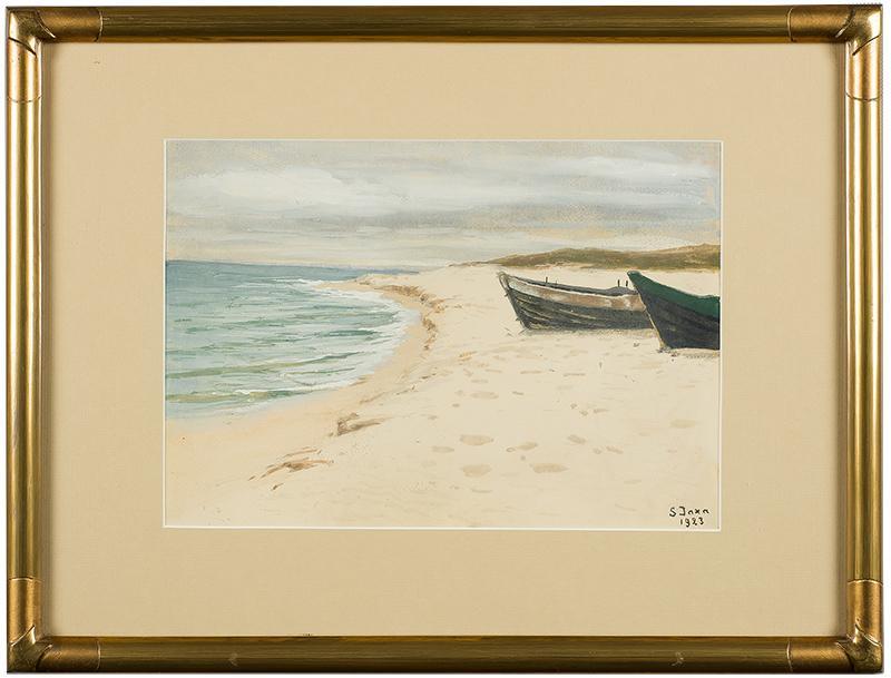 Łodzie na brzegu, 1923 r.