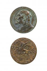 Plakieta z wizerunkiem Leona Wyczółkowskiego (awers), figura pegaza (rewers)