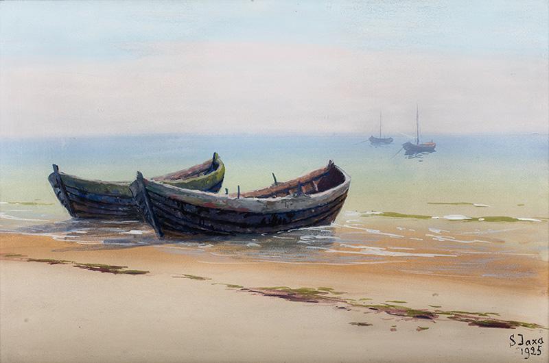 Łodzie przy brzegu, 1925 r.