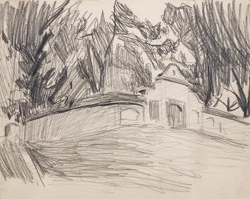 Kościółek w Rudawie, od strony bramy, ok. 1905
