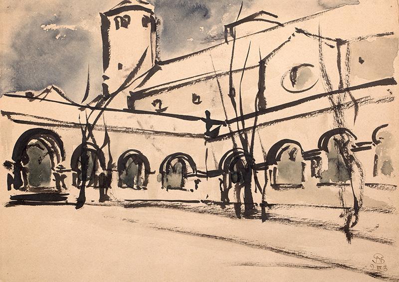 Widok na kościół, 1923 r.